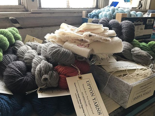 Tagging yarn and getting ready for vending this Saturday at the 6th Annual #yarnsellar #fibermarket at the @yorkharborinn 🧶🐑🌱 (please excuse the very messy shop- the cleaning fairies have been elsewhere this week 🧚♀️)