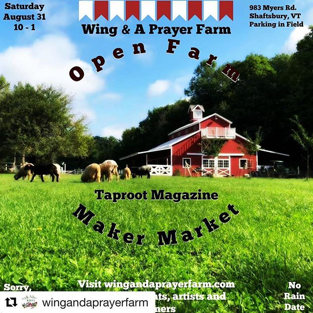 I'm packing up the shop and heading to VT this weekend 🐑🐑 Last year was a truly lovely event, and this year is shaping up to be even better💙🧶 #Repost @wingandaprayerfarm (@get_repost) ・・・ The weather is going to be primo this Saturday! Come on out to Open Farm from 10-1! We have demos, interactive farm chores, talks and an incredible raffle, not to mention pies & yarn for sale! You can visit the animals and shop the @taprootmag Maker Market, check out  the Green Mountain Spinners & Weavers' Guild Demo-tent, stock up on @glastenviewmaplefarm 's Maple Syrup, get some yummy Skyrr from @gammelgardencreamery , grab a snack from #Vizavi Solar-powered Food  Cart, and, oh yeah, I may put you to work helping me with the alpacas!!! You can park in the field and we have a portapotty. It's going to be terrific! No rain date and no pets, sorry. More info in the link on our profile!