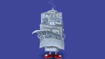 """BOOP BEEP - """"A cardboard box robot romantic comedy"""" Randy as the robot """"Beep"""""""