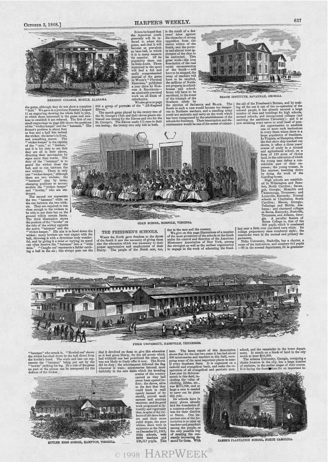 """The Freedmen's Schools,"" Harper's Weekly, October 3, 1868"