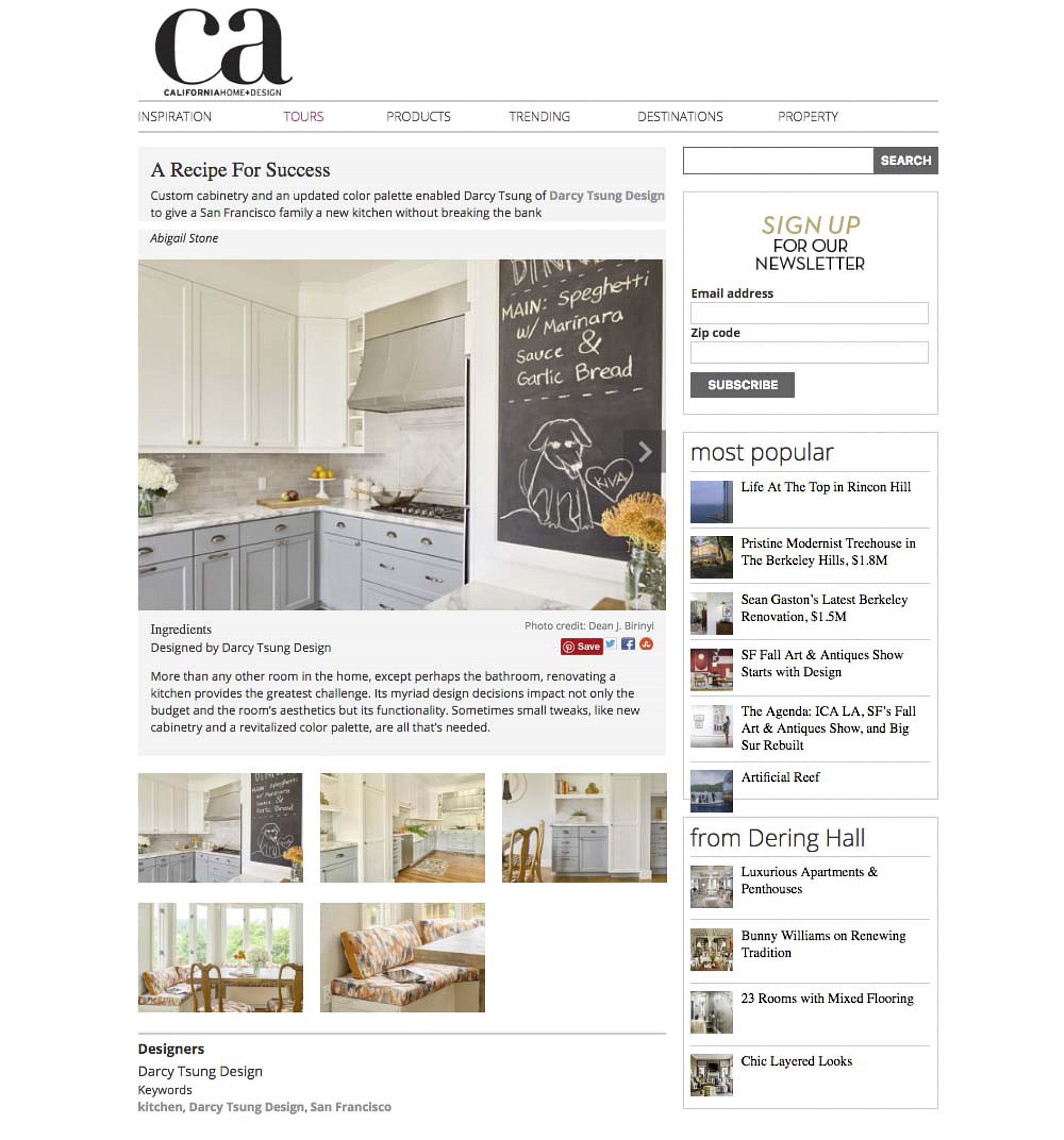Darcy Tsung - Published in California Home and Design Online
