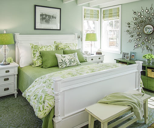 Overall view of a cheerful guest bedroom in Santa Cruz, CA one component of a presentation displaying the overarching vision of Dean Birinyi, an interior photographer San Francisco, CA.