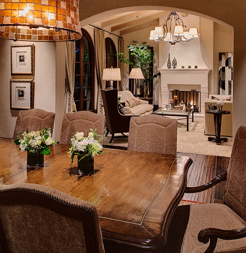 Twilight dining room in Saratoga, CA  Photograph by Dean Birinyi, an interior photographer based in San Francisco, CA