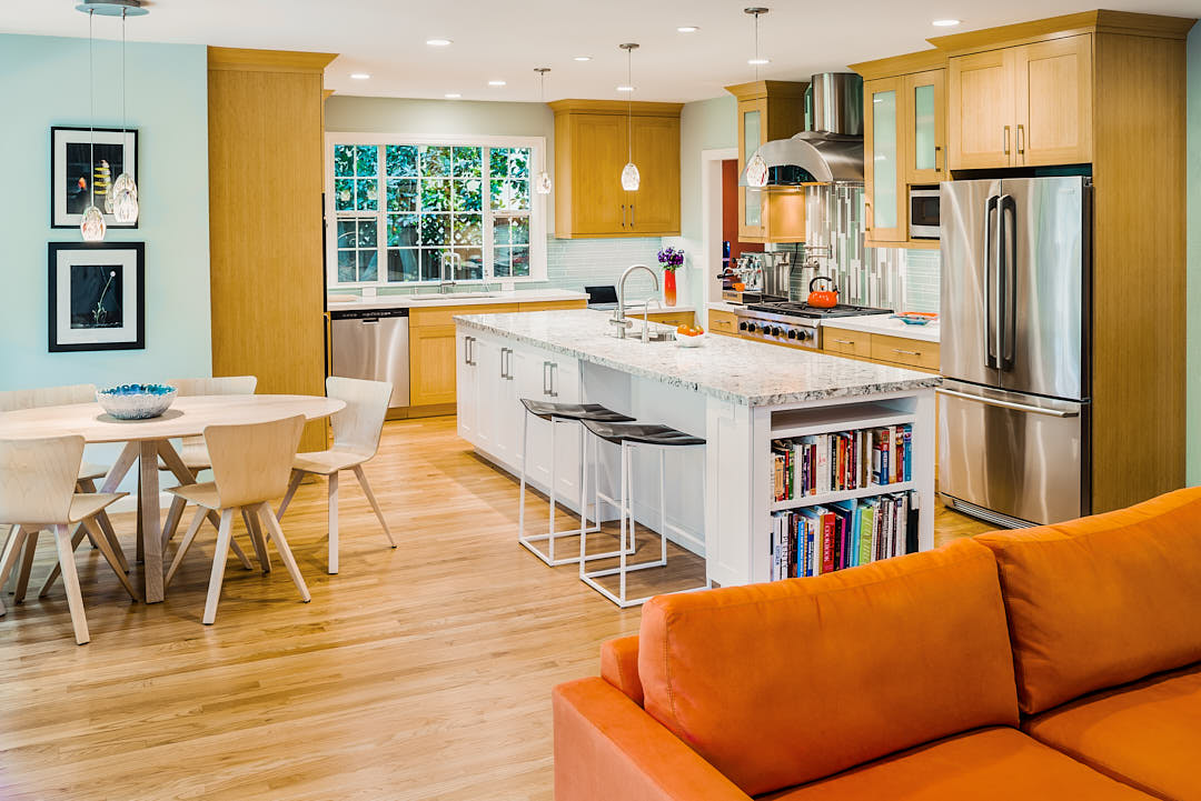 Fun contemporary kitchen with bright colors in Palo Alto, CA.  Photograph by Dean Birinyi, an interior photographer based in San Francisco, CA.