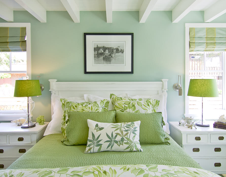 One point perspective of headboard of green bed in cherry guest bedroom in Santa Cruz, CA.  Photograph by Dean Birinyi, an interior photographer based in San Francisco, CA