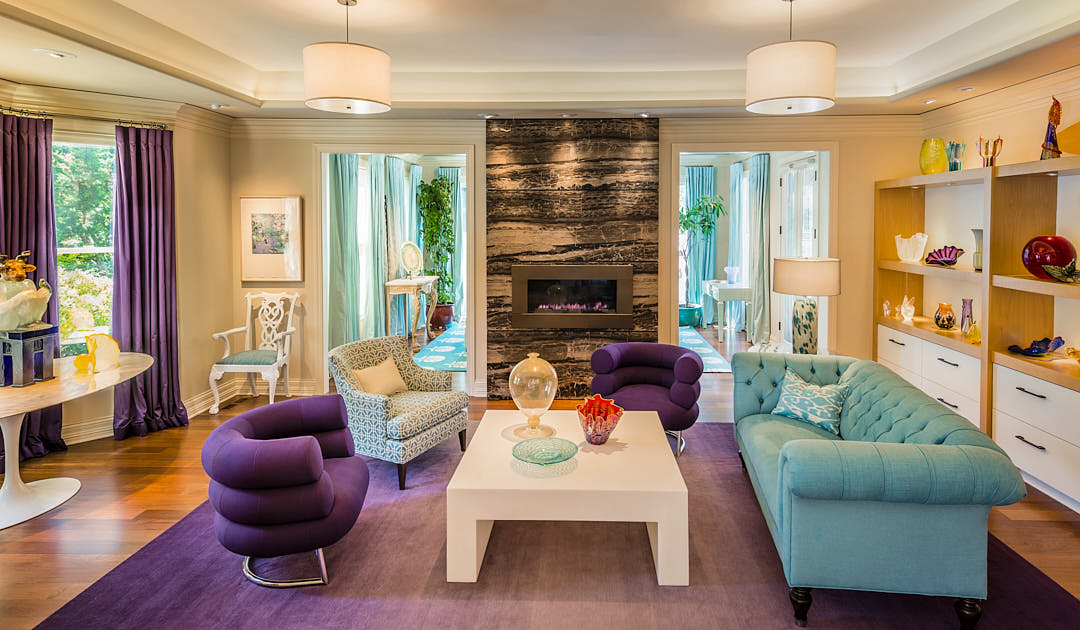 Colorful living room filled with Art Glass Sculptures in Los Altos, CA.  Photographed by Dean Birinyi, interior photographer in San Francisco, CA.