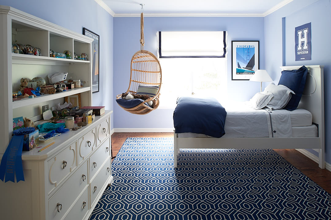 Unstyled Dark Blue bedroom in the Russian Hill neighborhood of San Francisco, Ca by interior photographer Dean Birinyi