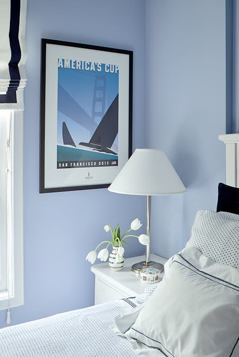 Blue bedroom nightstand vignette.  Photographed by Dean Birinyi, interior photographer in San Francisco, CA.