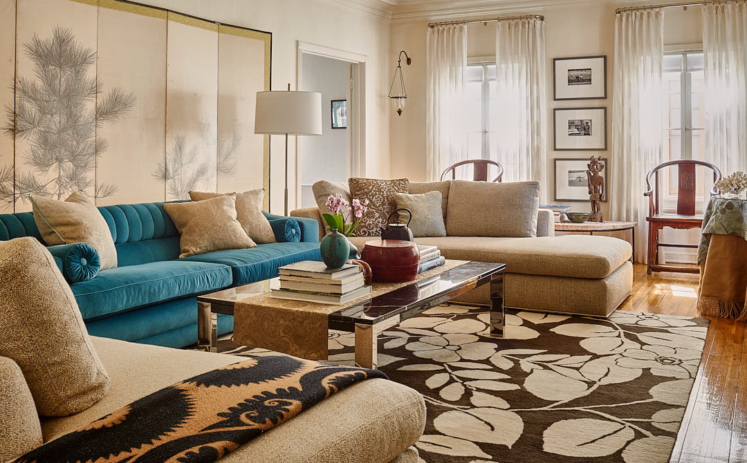 A well styled living room where the designer created just the right feel with use of texture, color form and balance in selection and placement of styling elements.  Photograph by Dean Birinyi, interior photographer in San Francisco, CA.
