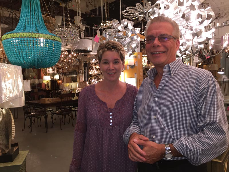 Rebecca and Ric Jolie amongst their showroom fixtures