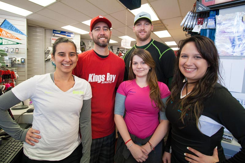 [L to R] Store Co-Managers Jennie and Andrew Wesolowski with staffers Megan Lozano, Matthew Gowin and Mandy Escasena