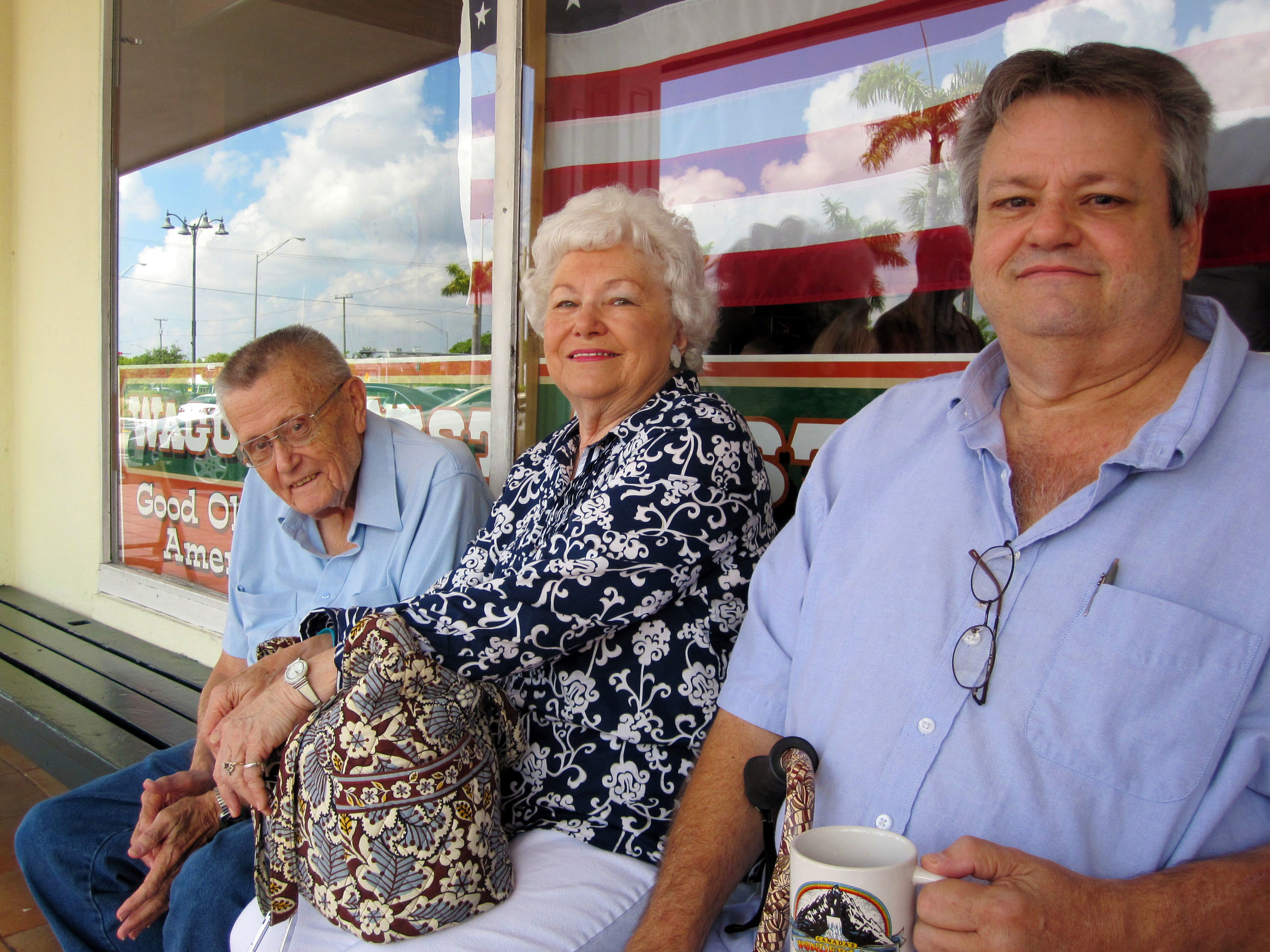 Russell, Joyce and Wade outside Wagons West in 2012