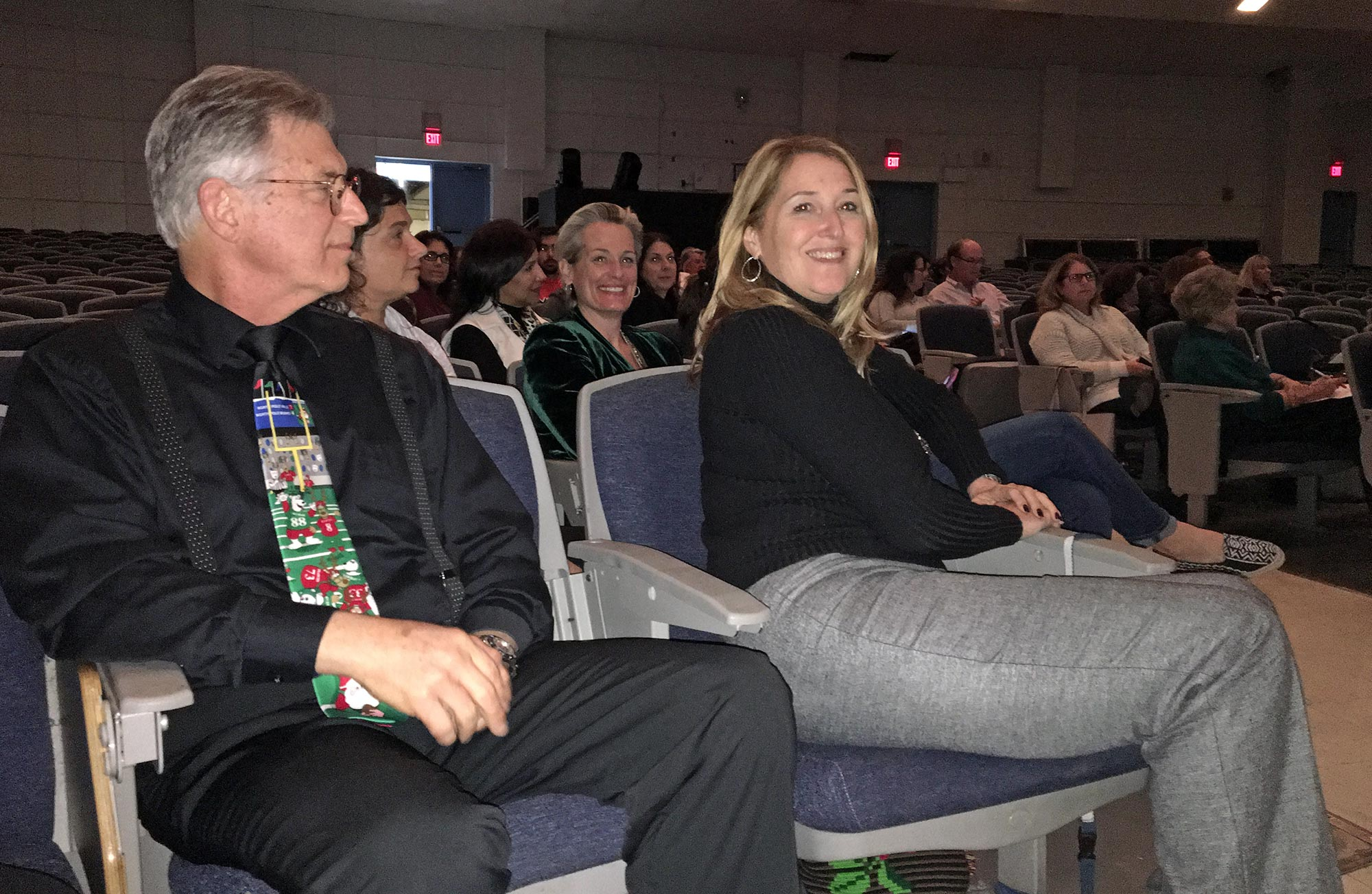 [L to R] School Board Commissioner Dr. Larry Feldman, Pinecrest Councilwoman Anna Hochkhammer (second row, smiling) and Palmetto HS Principal Victoria Dobbs