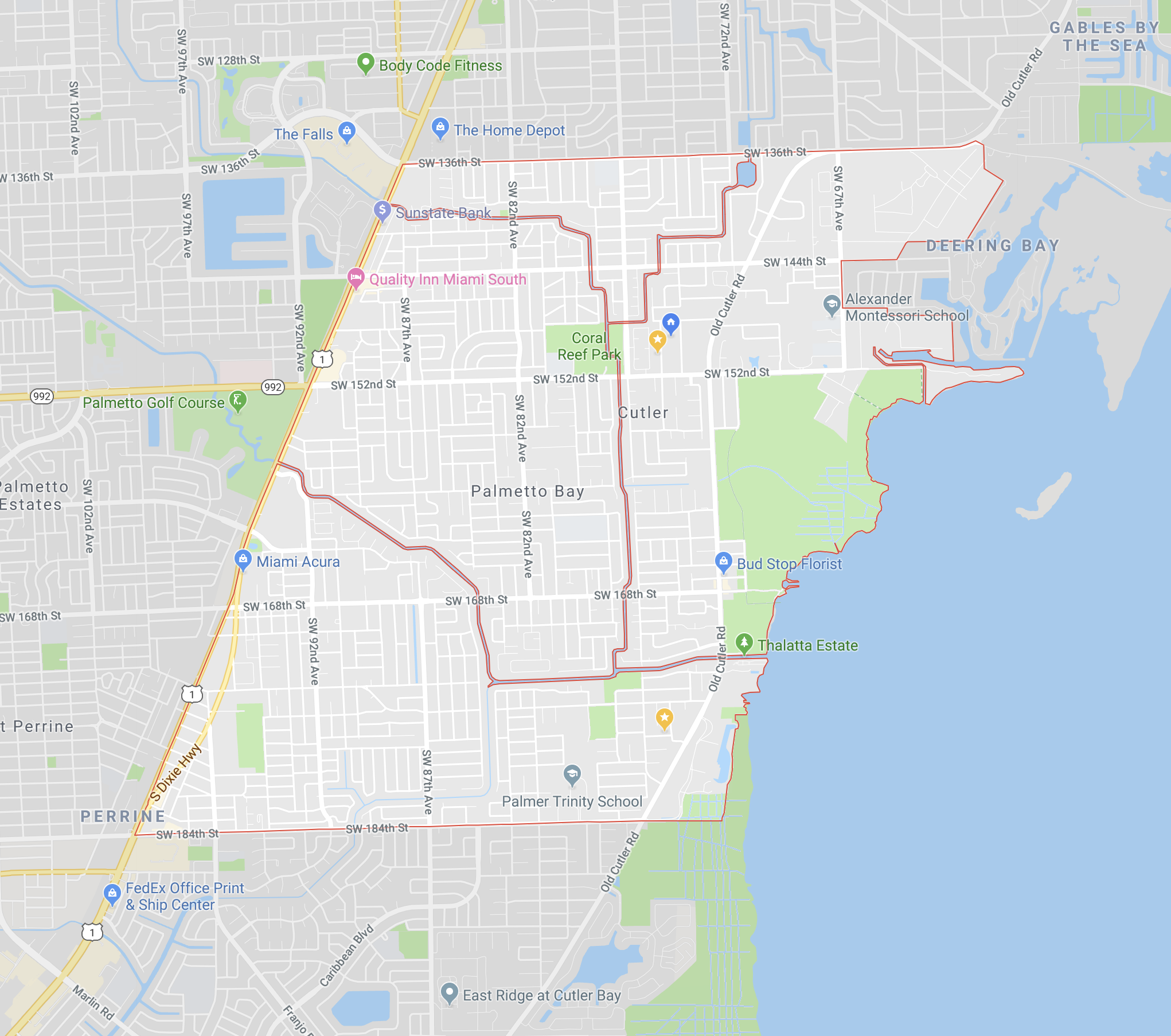 Palmetto Bay is essentially the area East of US-1, South of SW 136th Street and North of SW 184th Street (Click to enlarge)