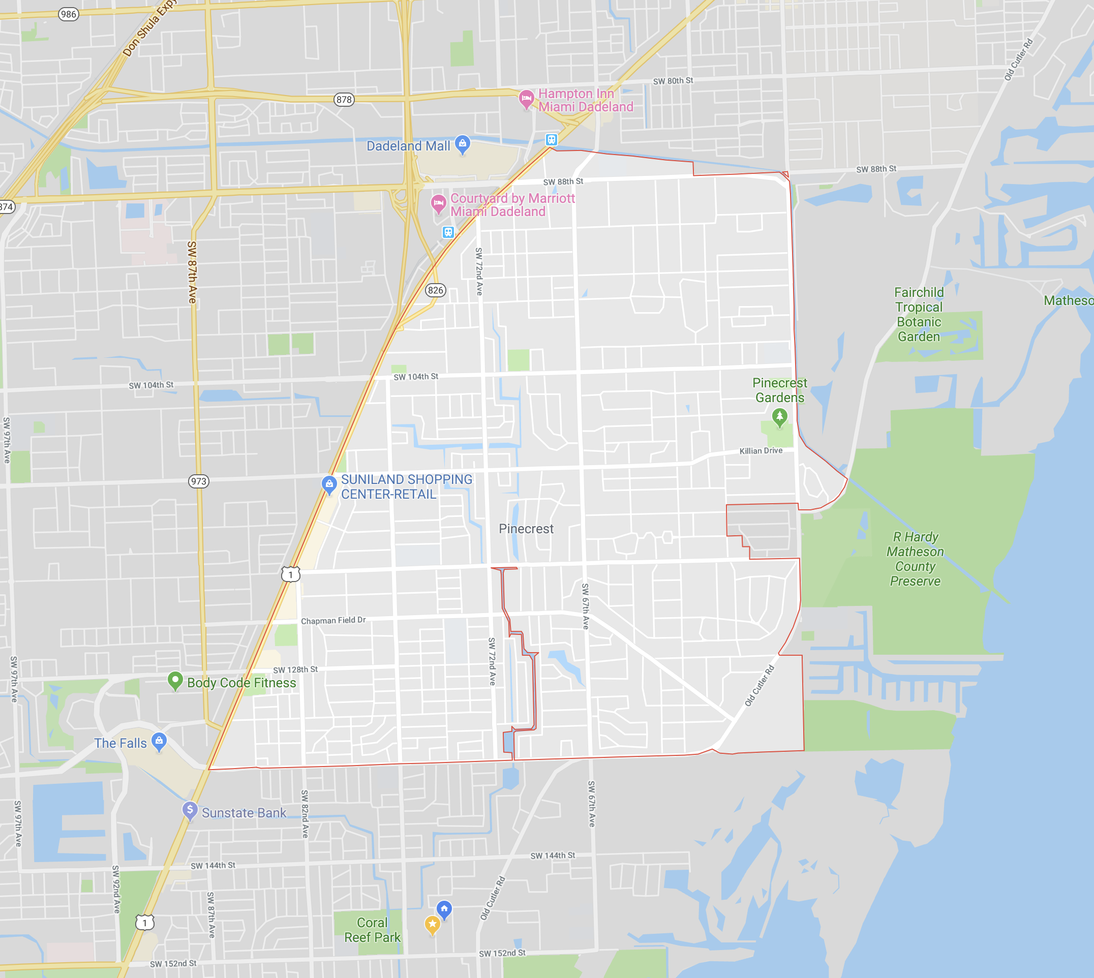 Pinecrest IS ESSENTIALLY THE AREA EAST OF US-1, SOUTH OF SW 88TH STREET AND NORTH OF SW 136TH STREET (CLICK TO ENLARGE)