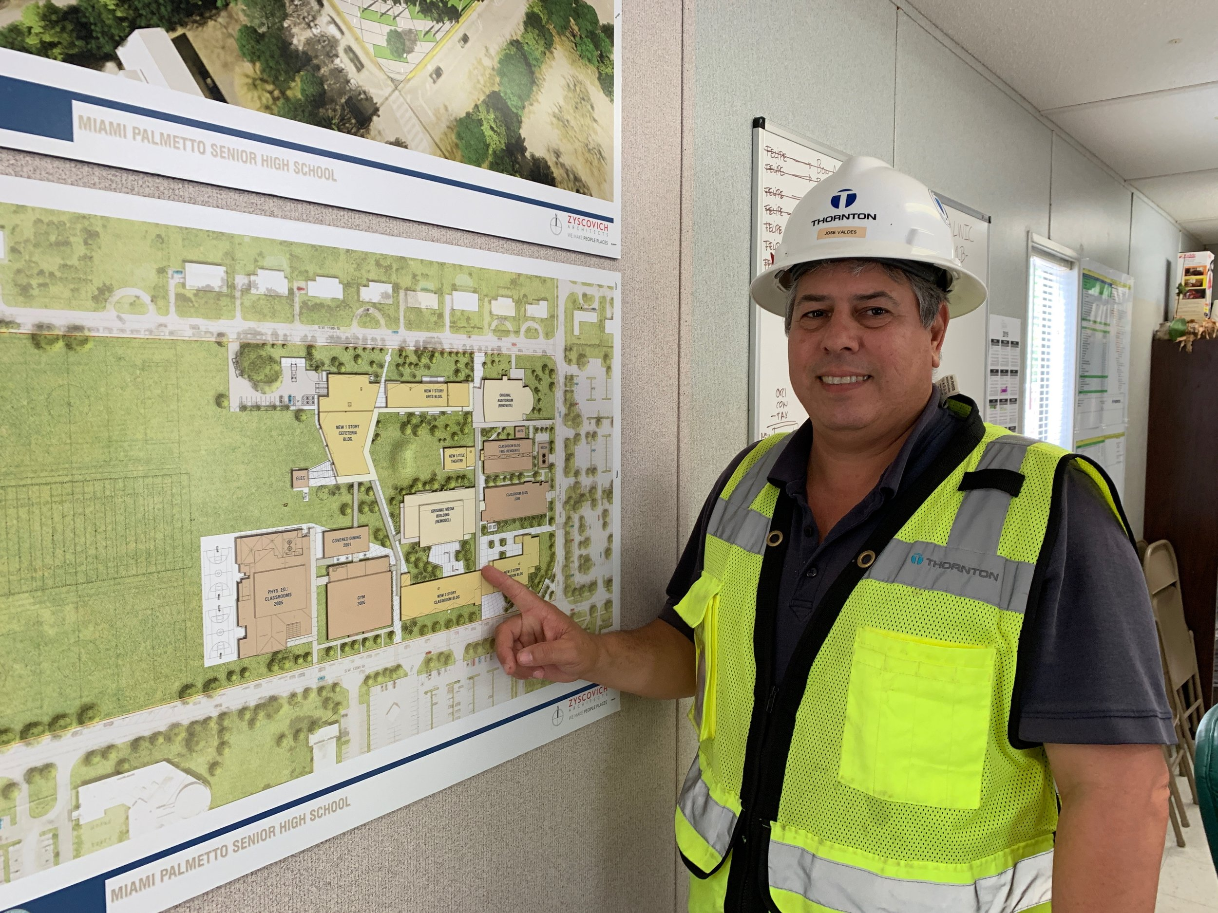 Jose Valdes, the construction superintendent, shows me the campus construction map for Miami-Palmetto Senior High School