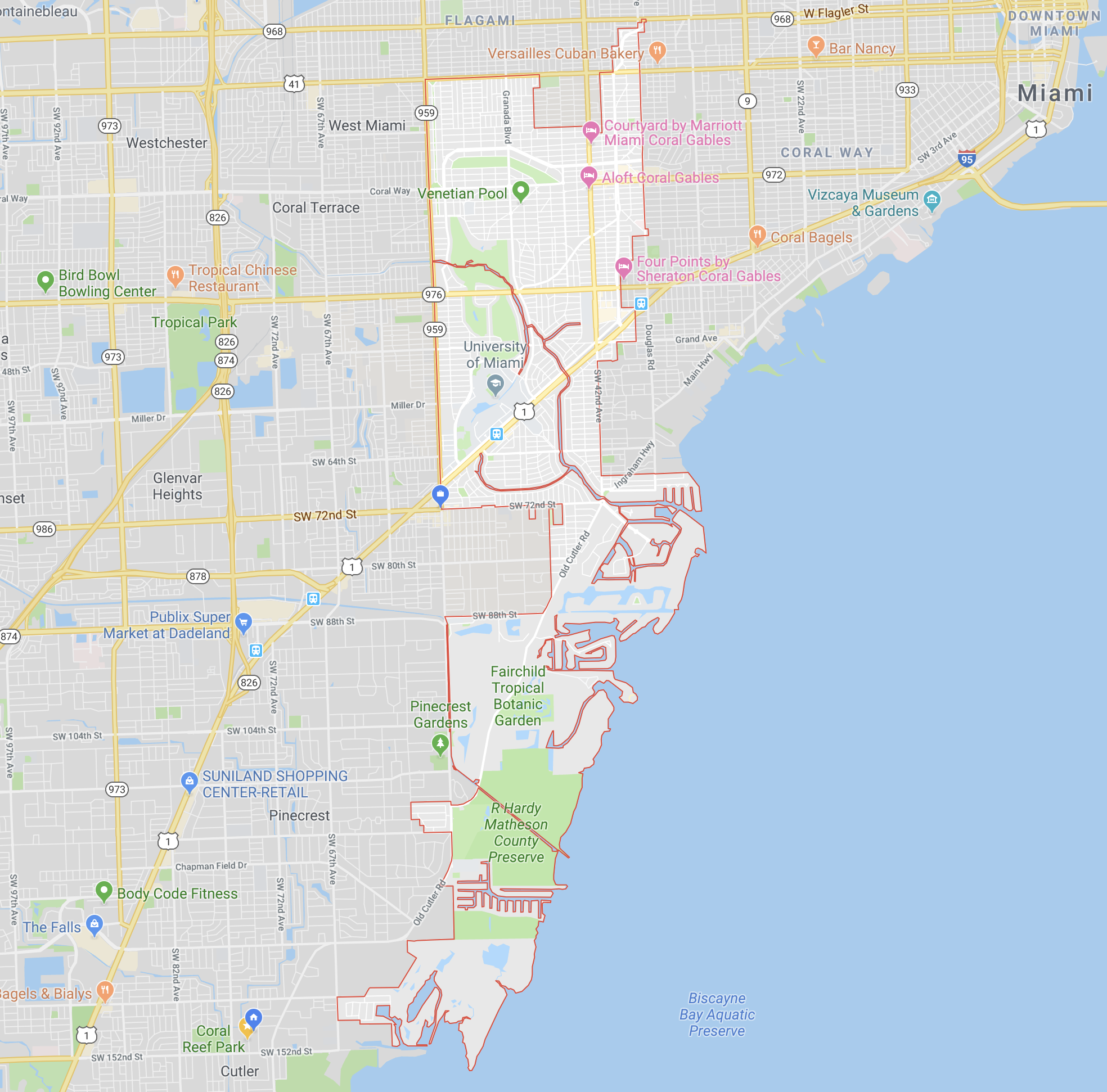 Coral Gables has an odd shape, but is essentially the area East of 57th Avenue, West of 37th Avenue, South of SW 8th Street and North of SW 152nd Street