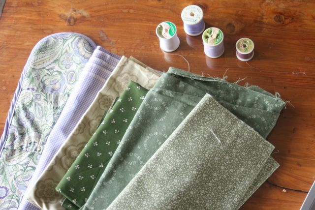 SELECT FABRICS AND THREADS FOR CUSTOM QUILT IN NATURAL LIGHT