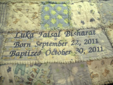 PERSONALIZED BLUE RAG BABY QUILT