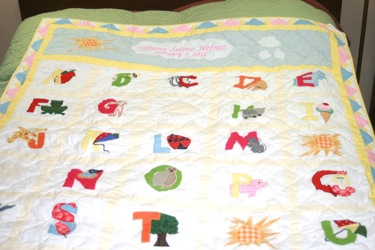 PERSONALIZED ABC THROW BABY QUILT