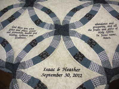 PERSONALIZED WEDDING RING QUILT TO CELEBRATE A WEDDING