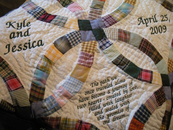 PERSONALIZED COUNTRY WEDDING RING THROW