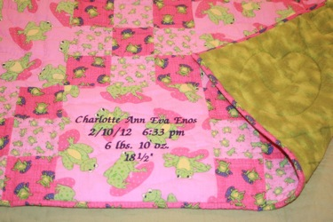 PERSONALIZED MADE IN USA NINEPATCH FROG BABY QUILT