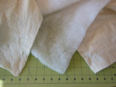 QUILT BATTING OPTIONS: COTTON (LEFT) POLYFILL (CENTER) BAMBOO (RIGHT)