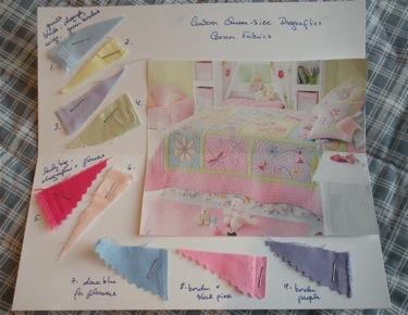SAMPLE QUILT DESIGN AND FABRICS CARD