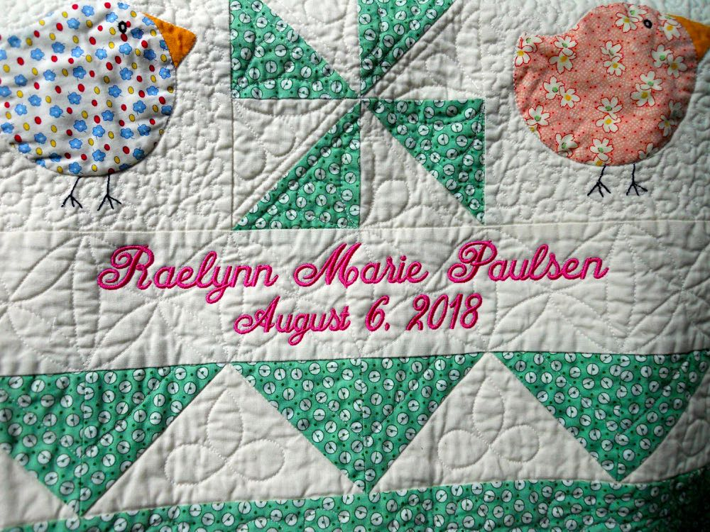 PERSONALIZED BABY QUILT FROM BLUEBIRD GARDENS