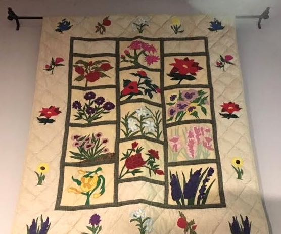 WILDFLOWER THROW AS QUILTED WALL HANGING