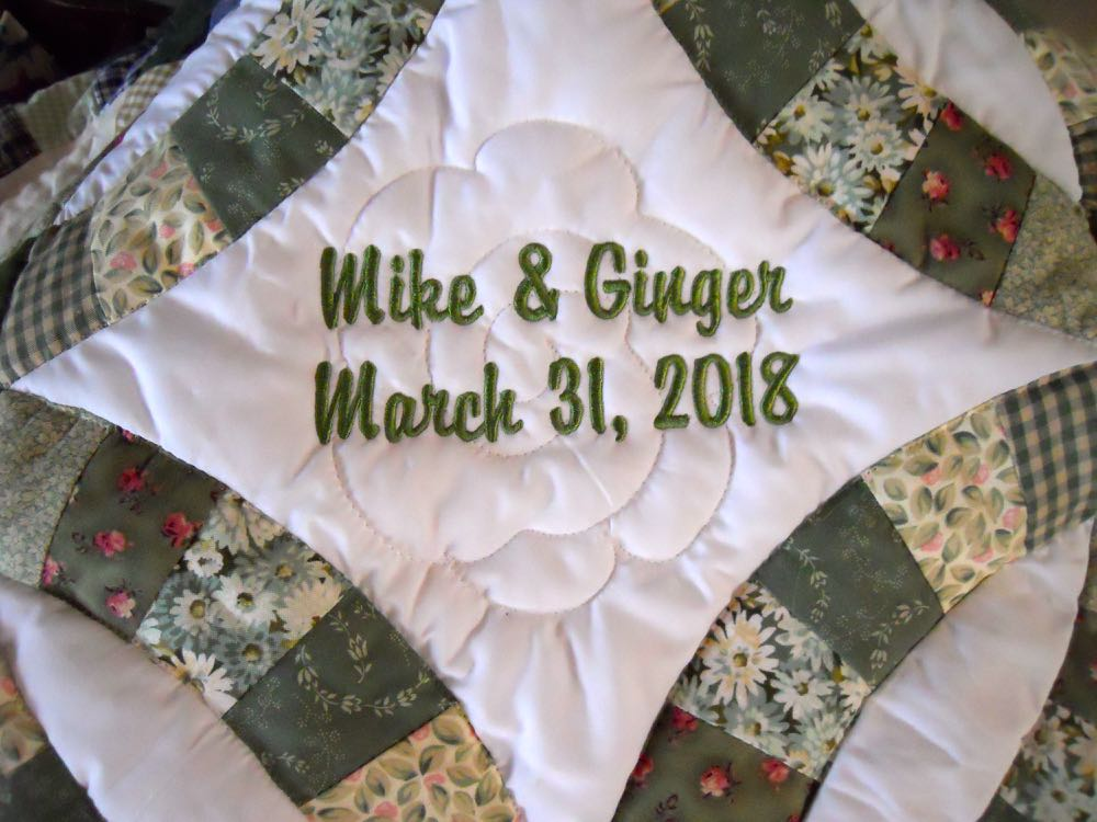 PERSONALIZED BLUEBIRD GARDENS DOUBLE WEDDING RING QUILT