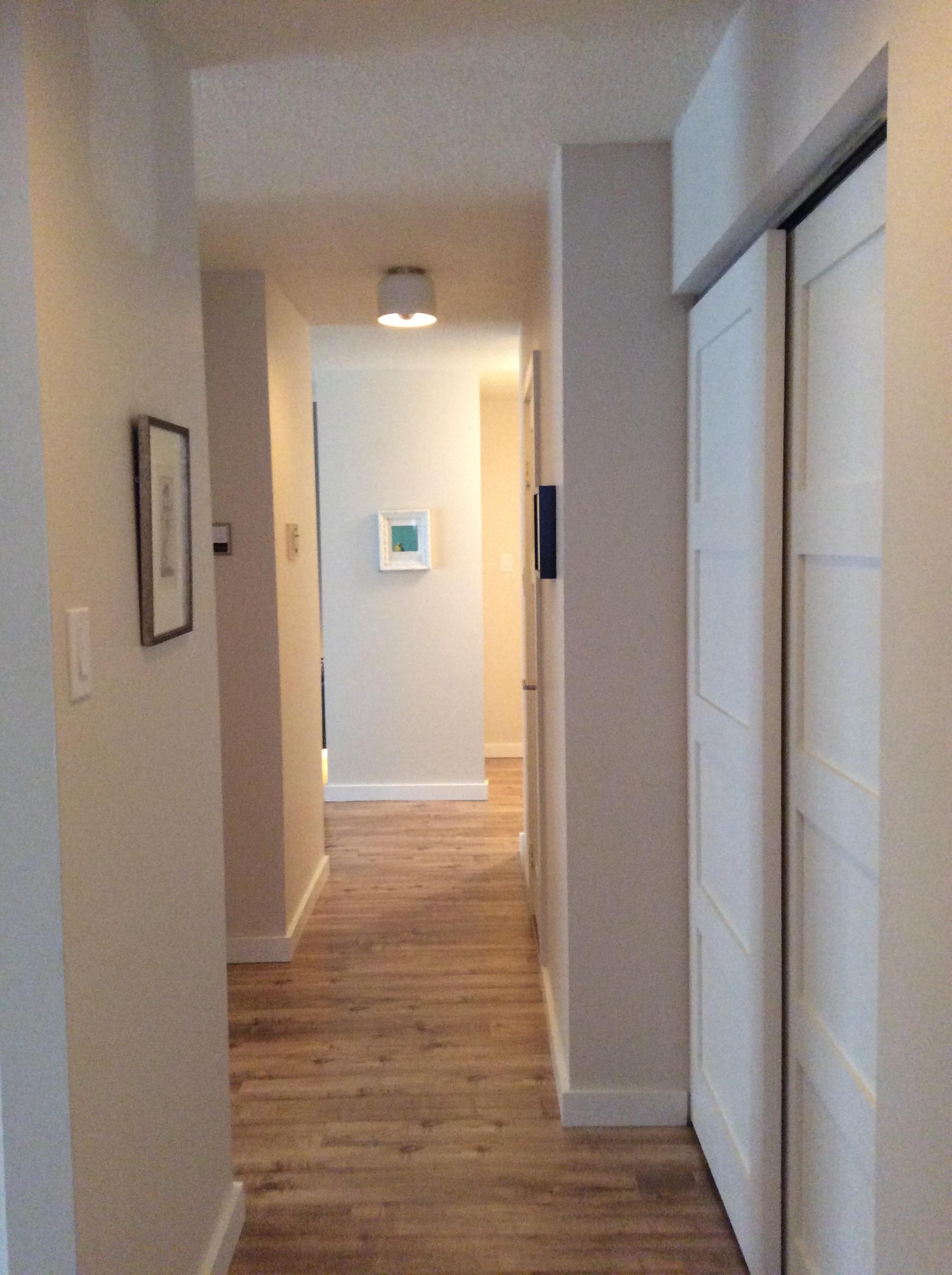 CB2 light fixtures, sliding barn style closet doors, laminate flooring.