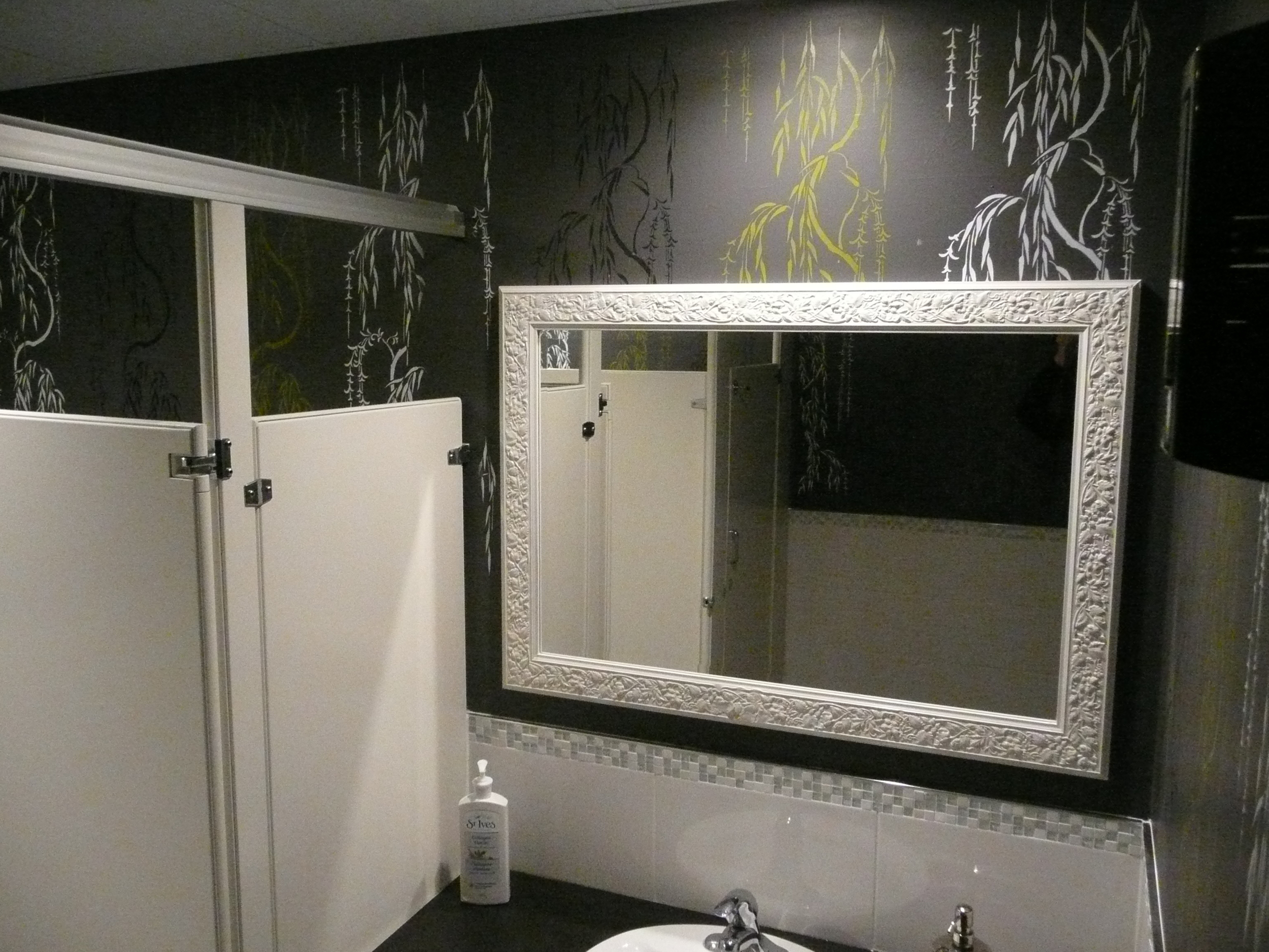 Custom stencilled walls.