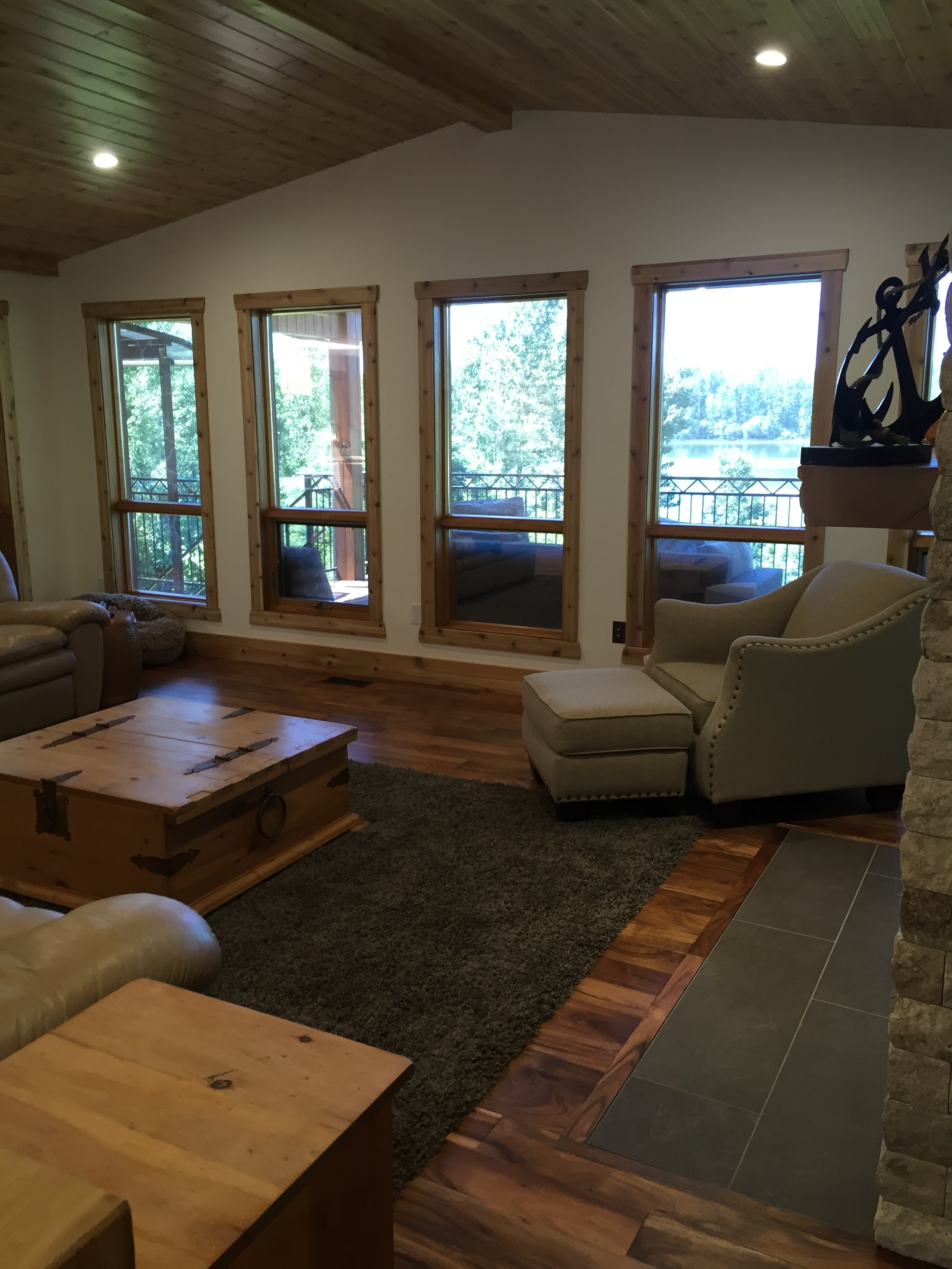 Cedar ceiling and window trim.