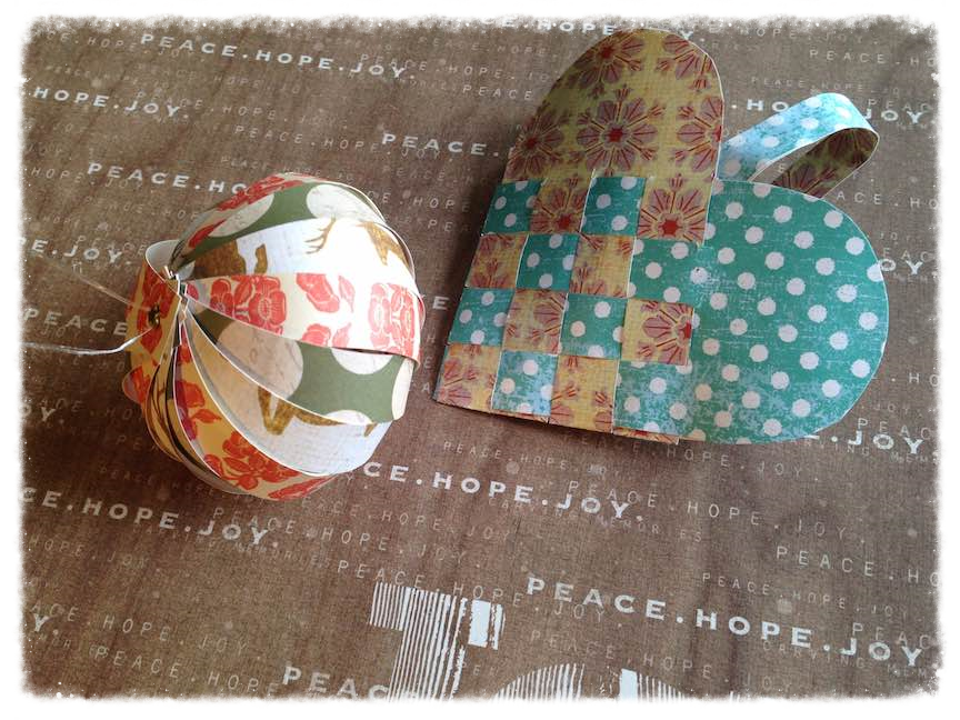 Paper DIY Christmas ornaments: paper globe, and Danish heart.