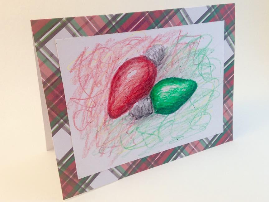 Christmas Lights Hand Drawn Card