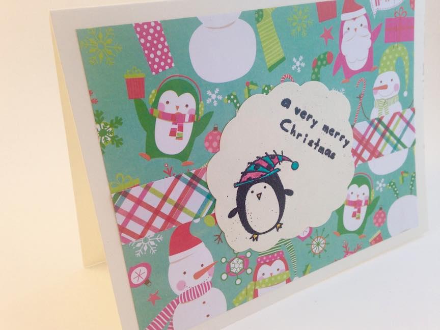 Embossed Penguin Christmas Card