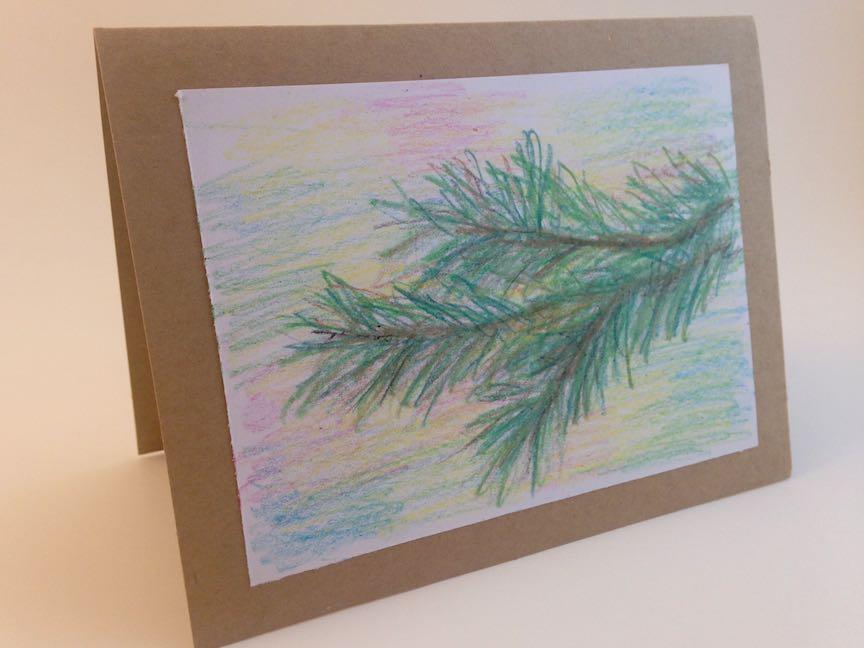 Pine Bough Hand Drawn Christmas Card