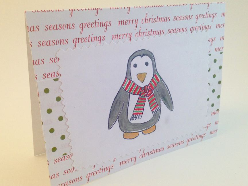 "Penguin ""Coloring Book"" Christmas Card"