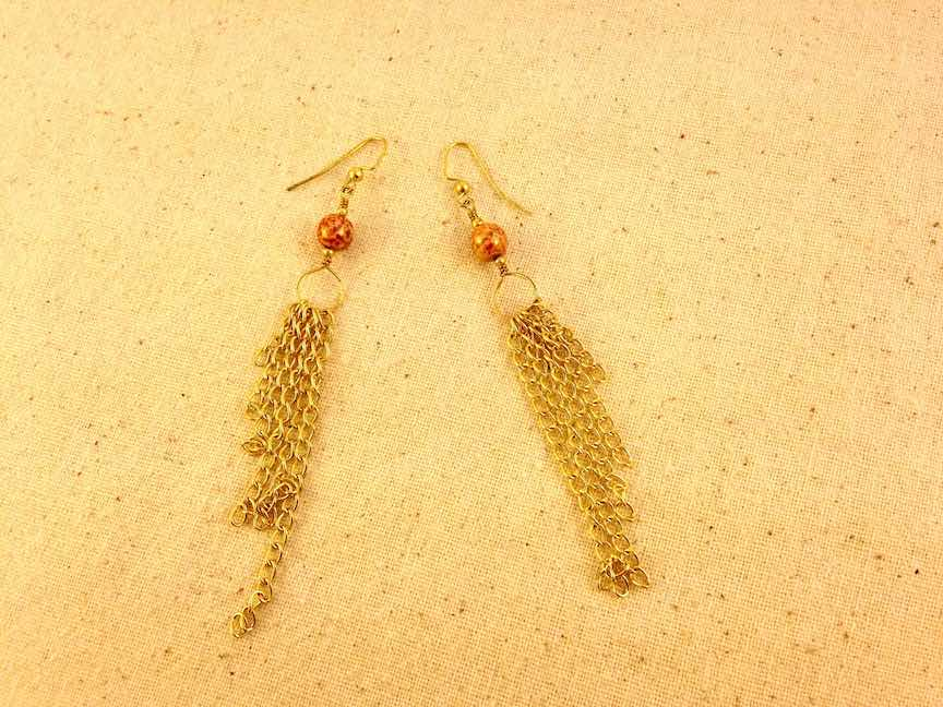 Orange Bead and Chain Earrings.jpg
