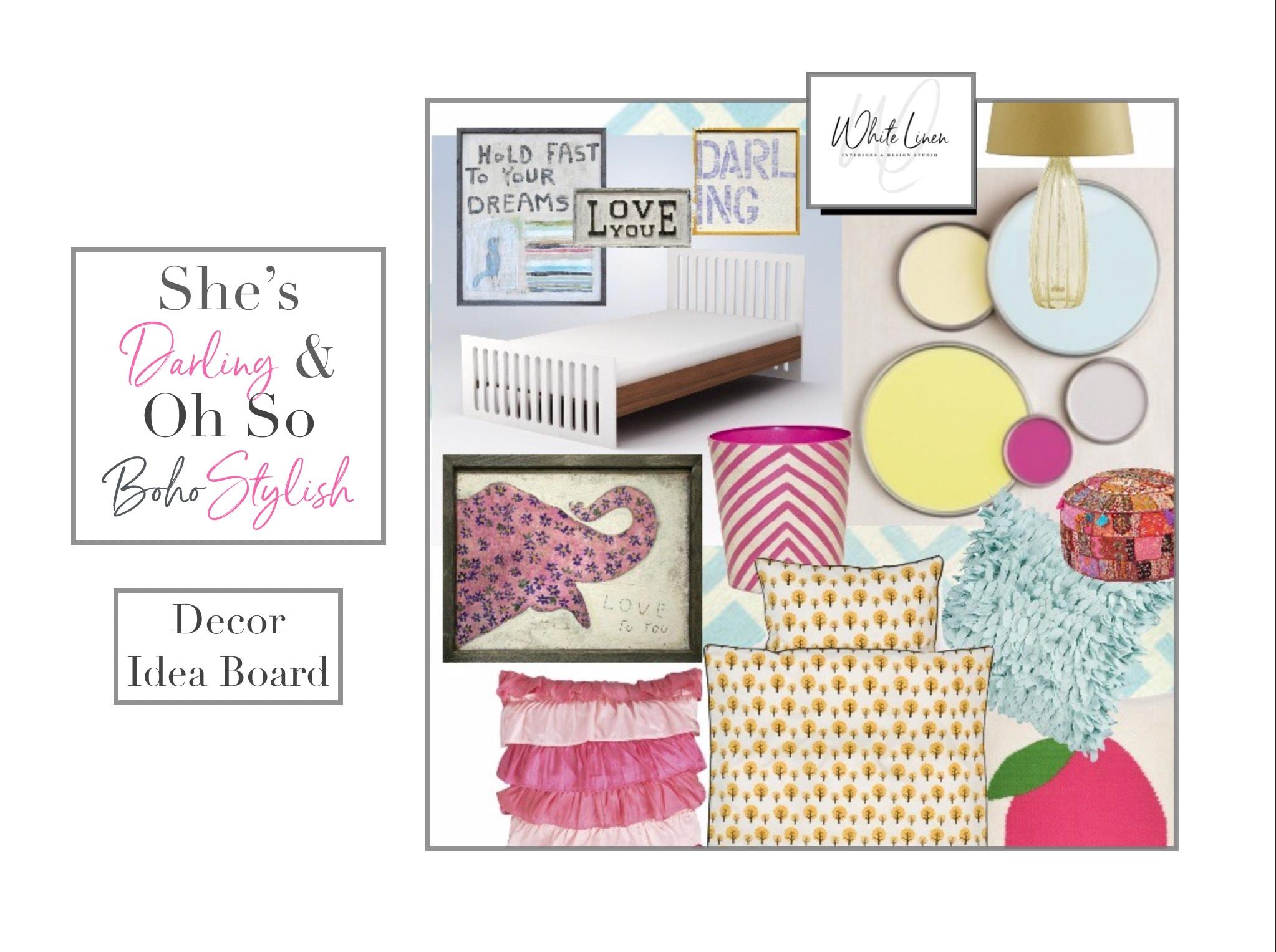 Little Girls Bedroom Boho Style Decor Idea Board