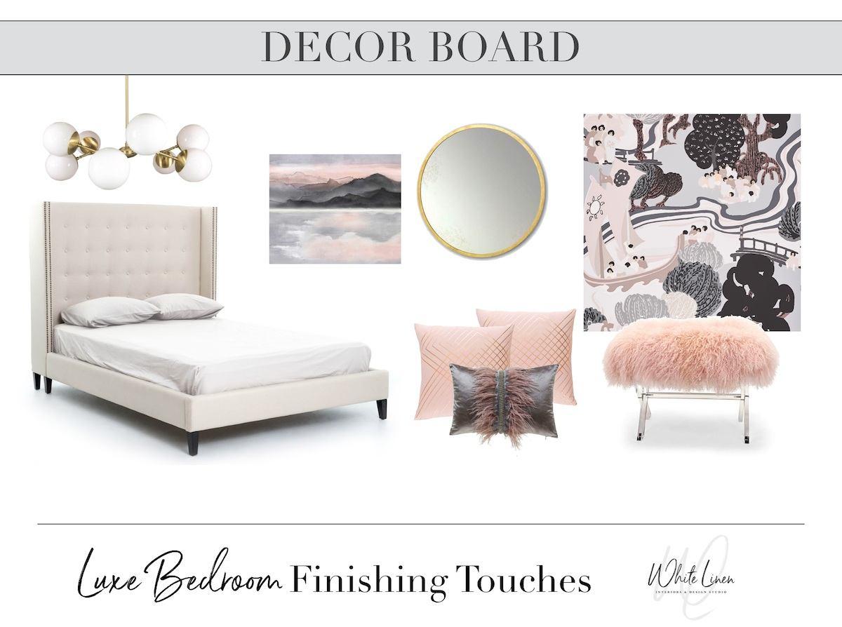 Luxe Bedroom Finishing Touches Design Board