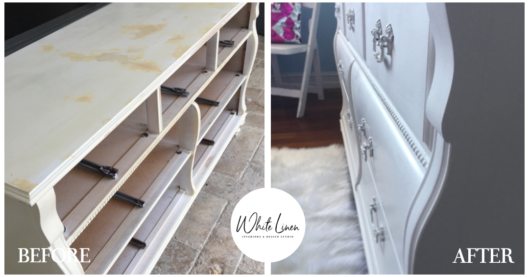 BEFORE AND AFTER - Re-furbish and Re-use daughter's bedroom dresser. From drab to fab-u-lous!