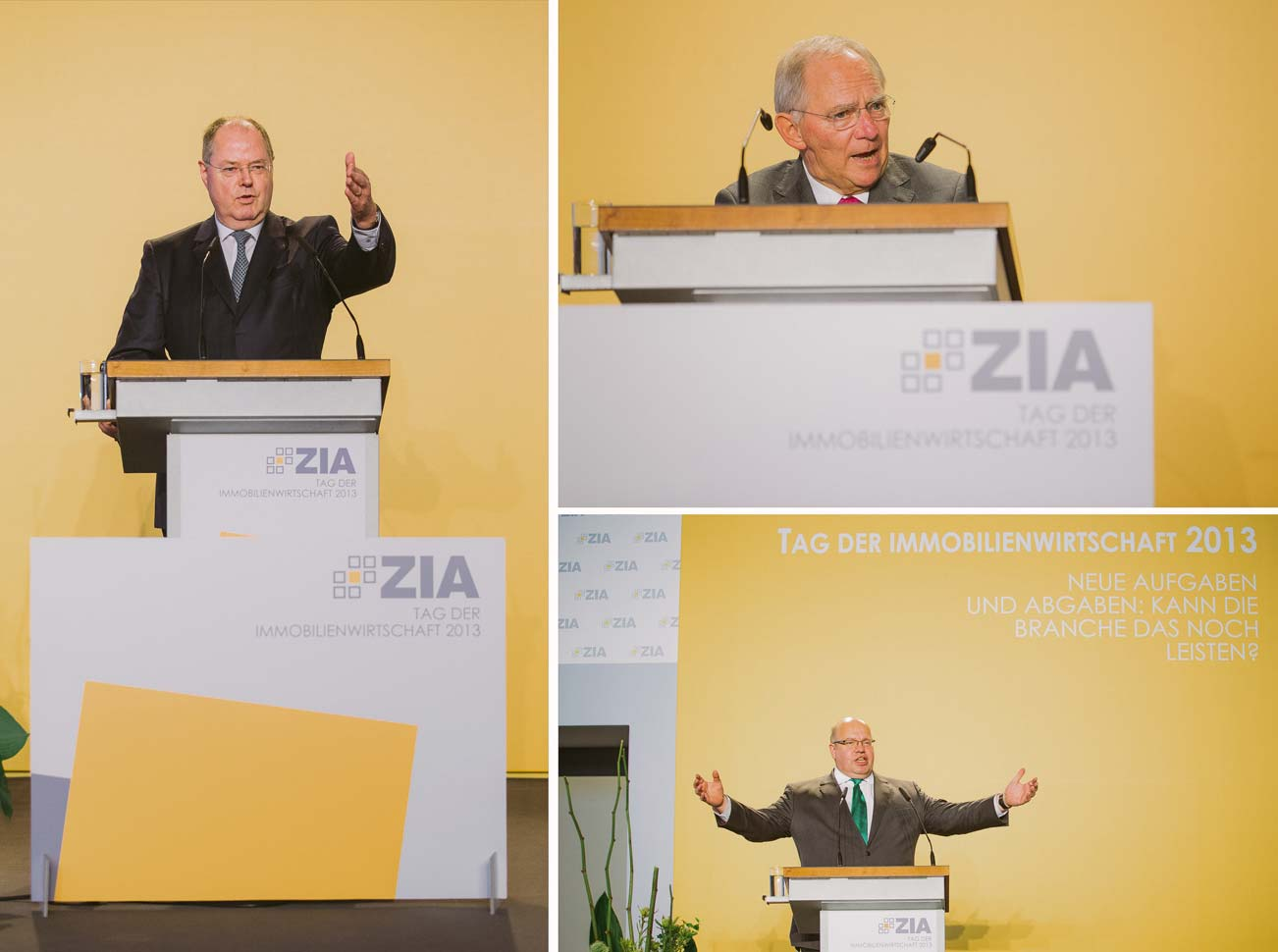 Die Bundesminister geben sich die Hand beim 'ZIA Tag der Immobilienwirtschaft'
