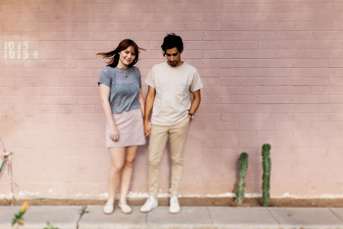 pink wall cute couple