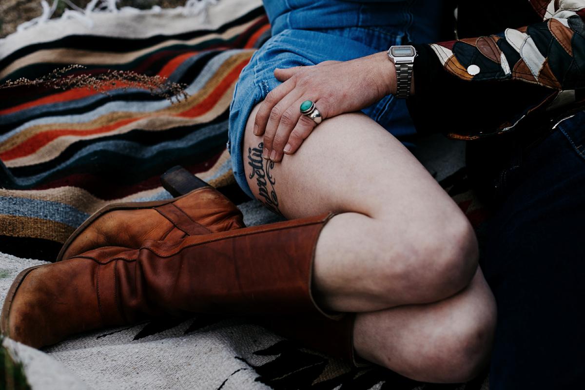 desert engagement session, bohemian couple, portrait, southwest,