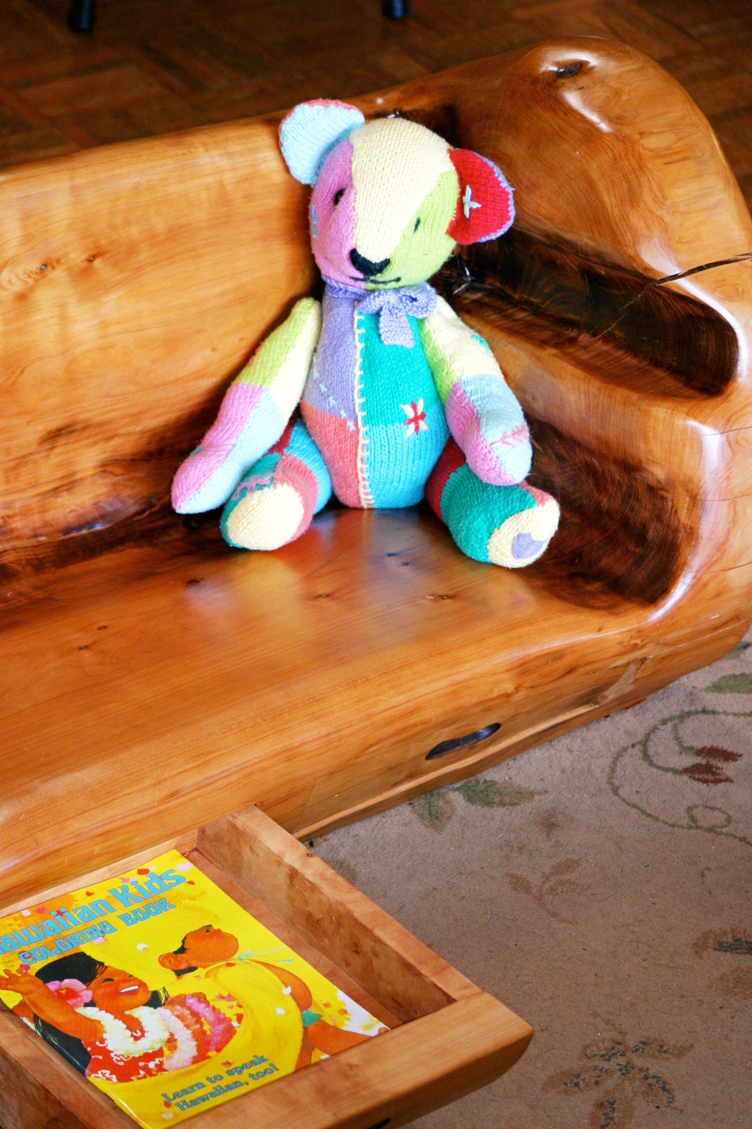 Solid wood children's bench