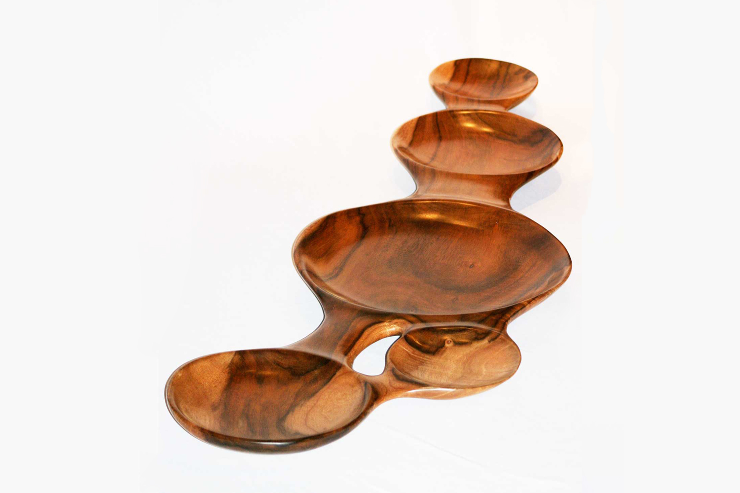 Connected koa wood bowls