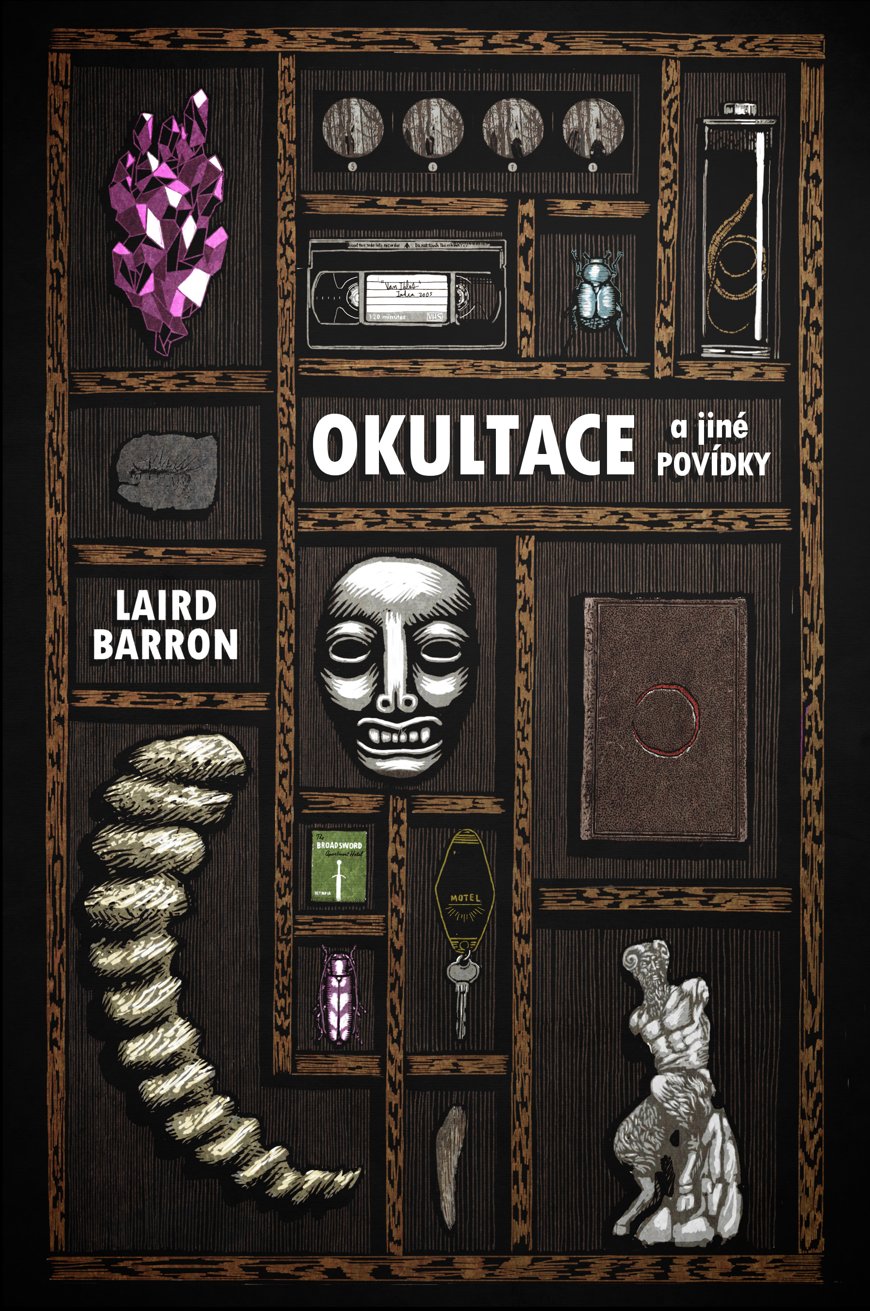 'Okultace a jiné povidky' by Laird Barron, book cover (Laser Books, 2016)